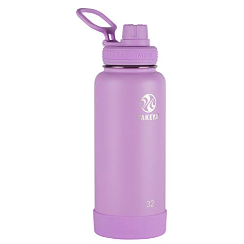 Takeya Actives Insulated Stainless Steel Water Bottle with Spout Lid, 32 oz, Lilac