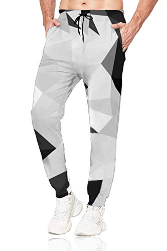 Belovecol Sweatpants for Men Geometric Graphic Jogger Pants Casual Trousers with Pockets Drawstring S