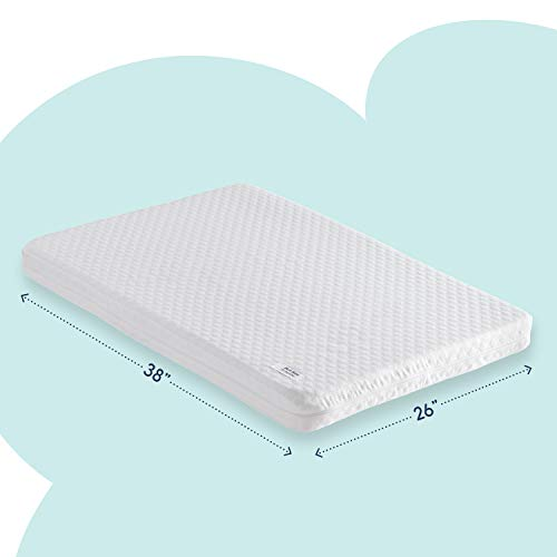 hiccapop Pack and Play Mattress Pad [Dual Sided] w/Firm Side (for Babies) & Soft Memory Foam Side (for Toddlers)   Memory Foam Play Yard Mattress Pad   Playard Mattress Fits Most Pack N Play Playpens