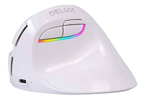 DELUX Wireless Small Vertical Mouse, Type-C Rechargeable Dual Mode Silent Ergonomic Mice with BT 4.0 and USB Nano Receiver, 4 Adjustable DPI and 6 Buttons (M618mini-White)