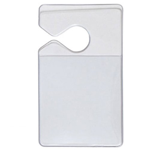 100 Pack - Clear Rigid Vinyl Vertical Vehicle Hang Tag Small Parking Pass Permit Holders - Holds Parking Lot Permit Sticker or Card - Attach to Car Rear View Mirror, by Specialist ID