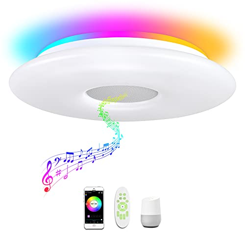 OFFDARKS Flush Mount Smart Music Led Ceiling Light with Bluetooth Speaker,Support Alexa Google Home WiFi,Energy Saving 48W Ceiling Lamp,Dimmable RGB Color Brightness Light Fixture for Bedroom Kitchen
