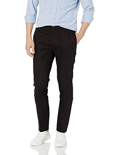 Amazon Brand - Goodthreads Men's Skinny-Fit Wrinkle Free Dress Chino Pant, Black, 34W x 31L