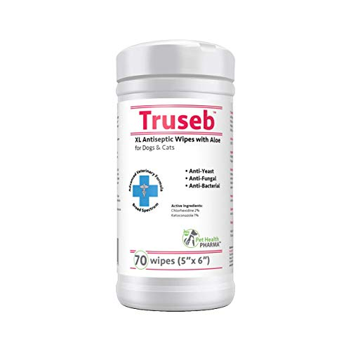 Truseb | #1 Chlorhexidine Wipes with Ketoconazole and Aloe for Dogs, Cats Antifungal, Antibacterial & Anti Yeast 70XL & 50 PadsTreats Ringworm, Pyoderma, Acne & Hot Spots (70 Wipes (5''X6''))