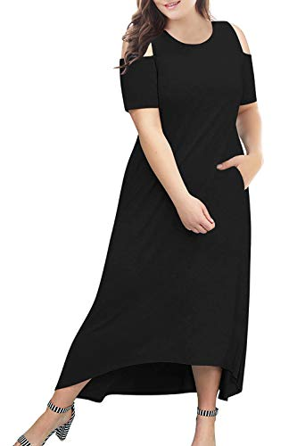 Nemidor Women's Cold Shoulder Plus Size Casual High-Low Hem Maxi Dress with Pocket NEM174 (Black,18W)
