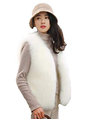 Simsly Autumn Fur Vest Sleeveless Lightweight Faux Fur Vests Winter Warmer Jacket Coat for Women and Girls (Large)