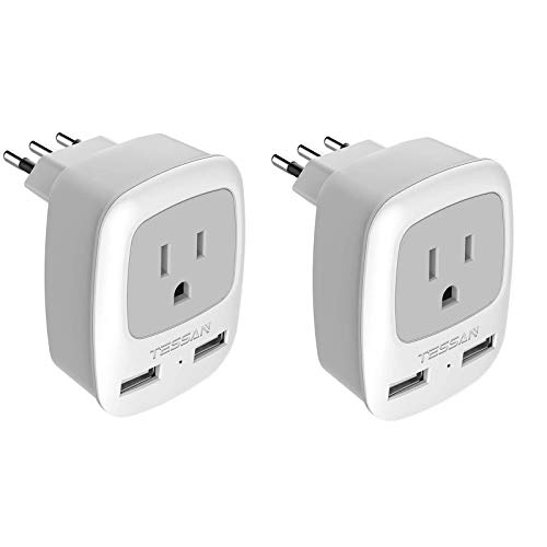 Italy Travel Plug Adapter 2 Pack, TESSAN Grounded International Power Outlet Adaptor with 2 USB Ports, Type L Charger for USA to Chile Uruguay Italian
