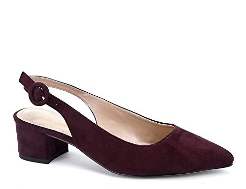 Greatonu Womens Pumps Shoes Wide Fit Sandals Low Block Heels Ankle Buckle Chic Slingback Burgundy Size 10