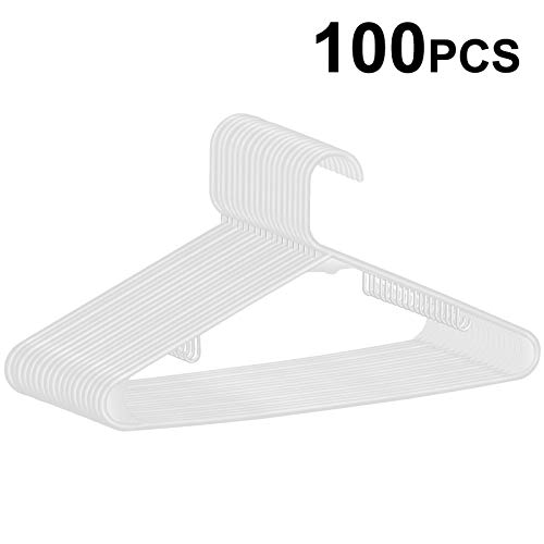 ZENY 100-Pack White Plastic Hangers for Clothes Space Saving Clothing Hangers, Long Lasting Clothes Hangers