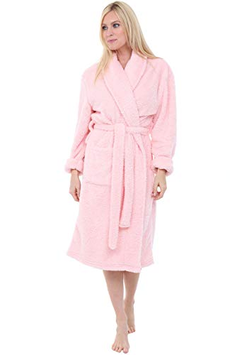 Alexander Del Rossa Women's Plush Fleece Robe, Warm Shaggy Bathrobe, Small-Medium Pink Rose Quartz (A0302RSQMD)