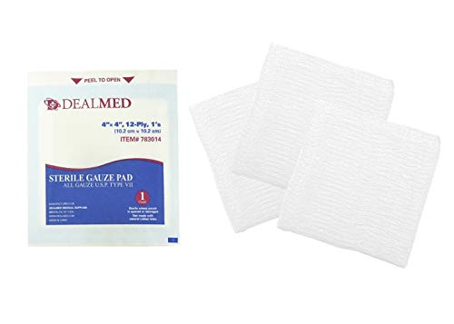 Dealmed Brand Sterile Gauze Pads, Individually Wrapped for Wound Dressing, Highly Absorbent Gauze Sponge Pads for First Aid, Home Kits, and Wound Care, 4'' x 4'' (100/Pack)