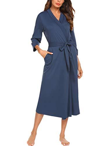 MAXMODA Robes for Women Soft Kimono Spa Knit Bathrobe V-Neck Nightwear(Navy Blue,S)