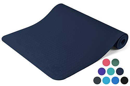 Clever Yoga Premium Yoga Mat BetterGrip Eco-Friendly With The Best Non-Slip and Durable TPE 6mm or 1/4 inch thick – Dark Blue Yoga Mat