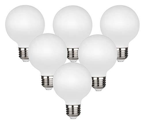 LED Edison Globe Light Bulb, Warm White 2700K CRI 95, LED Filament Light Bulb, 4.5W Equivalent to 40W, G25(G80) Dimmable 450LM E26 Medium Base, Frosted Glass, Bathroom Vanity Mirror Light 6 Pack