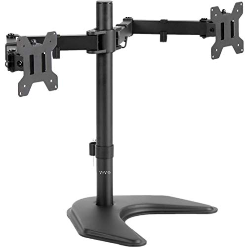 VIVO Dual LED LCD Monitor Free-Standing Desk Stand for 2 Screens up to 27 inches, Heavy-Duty Fully Adjustable Arms with Max VESA 100x100mm (STAND-V002F)