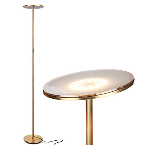 Brightech Sky Flux - The Very Bright LED Torchiere Floor Lamp, for Your Living Room & Office - Halogen Lamp Alternative with 3 Light Options Incl. Daylight - Dimmable Modern Uplight - Brass