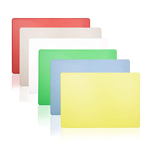 Commercial Plastic Cutting Boards Set, 20x15 Inch, 6 Color Pack NSF