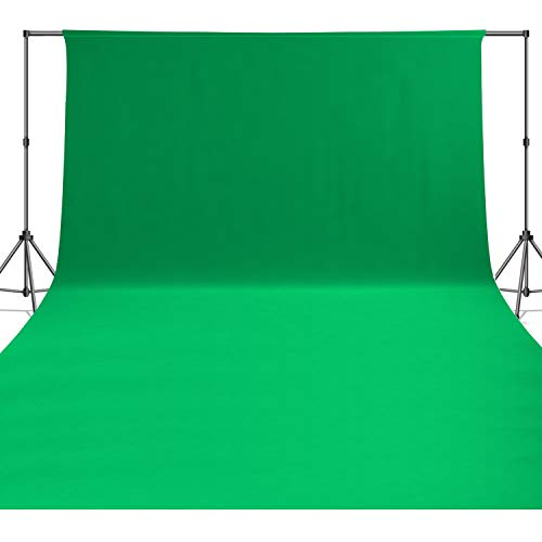 ISSUNTEX (6X9 ft, Green) Background 100% Pure Cotton Muslin Backdrop,Photo Studio,Collapsible High Density Screen for Video Photography and Television