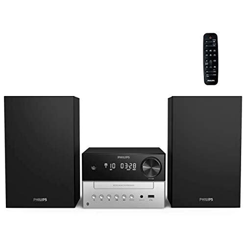 Philips Bluetooth Stereo System for Home with CD Player, MP3, USB, Audio in, FM Radio, Bass Reflex Speaker, 18W, Remote Control Included