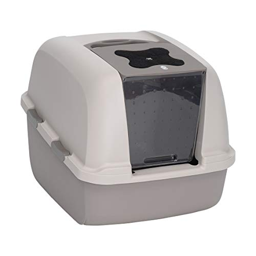 Catit Jumbo Hooded Cat Litter Pan - Warm Gray