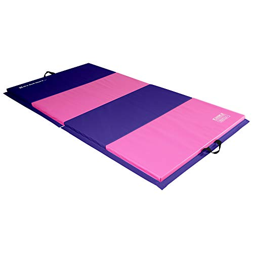 We Sell Mats 4 ft x 8 ft x 2 in Personal Fitness & Exercise Mat, Lightweight and Folds for Carrying, Purple/Pink (ECO4x8-50M)