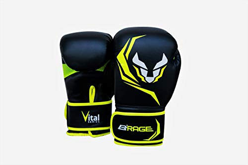 B'RAGE Vitals Boxing Punching Bag Kickboxing Gloves (Green, 10oz)