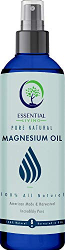 Essential Living: Ultra Pure Magnesium Oil Spray - Topical Solution for Sleep Aid, Pain and Stress Relief Support - 8 oz. - 100% Natural - No Impure Trace Minerals - Made in The USA