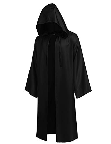 COOFANDY Cosplay Costume Tunic Robe Adult Tunic Hooded Robe Outfit for Jedi Costume Black, Large