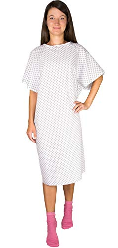 Hospital Gown Back Tie - Blue or White - 3 Pack (White)