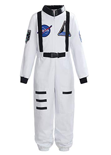 ReliBeauty Boys Girls Kids Children Astronaut Role Play Costume, White, 5-6
