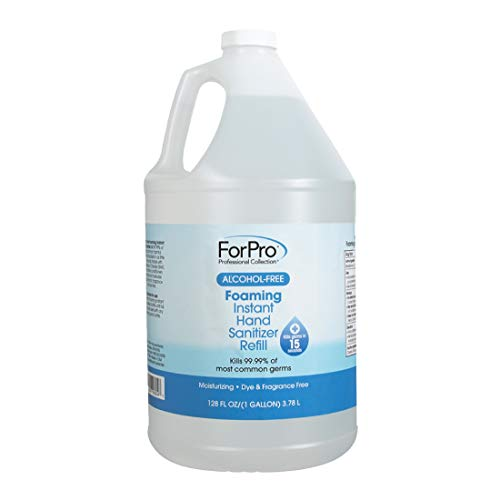 ForPro Alcohol-Free Foaming Instant Hand Sanitizer, Moisturizing, Dye and Fragrance Free Sanitizer, 1 Gallon Refill