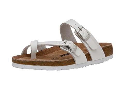CUSHIONAIRE Women's Luna Cork Footbed Sandal with +Comfort White 13