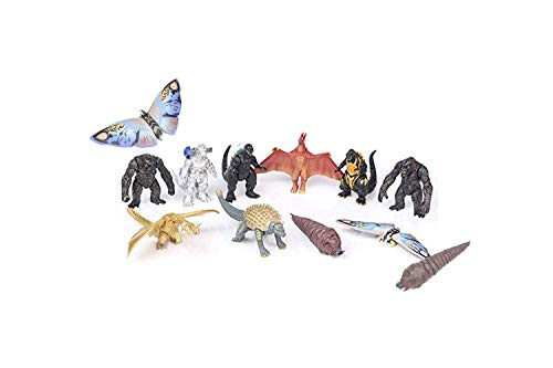 Optovichok Set of 10 Godzilla Toys Movable Joint Birthday Kids 2019 Action Figures King of The Monsters Burning Heisei Mecha Ghidorah Pack Plastic Mini Dinosaur Playsets Cake Toppers Package