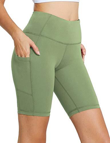 BALEAF Women's 8' High Waist Biker Workout Yoga Running Compression Exercise Shorts Side Pockets Olive Green Size M