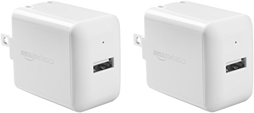 AmazonBasics One-Port 12W USB Wall Charger for Phone, iPad, and Tablet, 2.4 Amp, White, 2 Pack