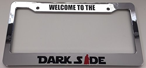 Welcome to The Darkside - Chrome with Red Combo Automotive License Plate Frame - Dark Side Darth Vader