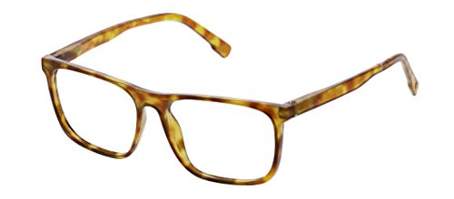 Peepers by PeeperSpecs Highbrow Focus Square Blue Light Filtering Reading Glasses, Honey Tortoise, 56 mm + 2.5