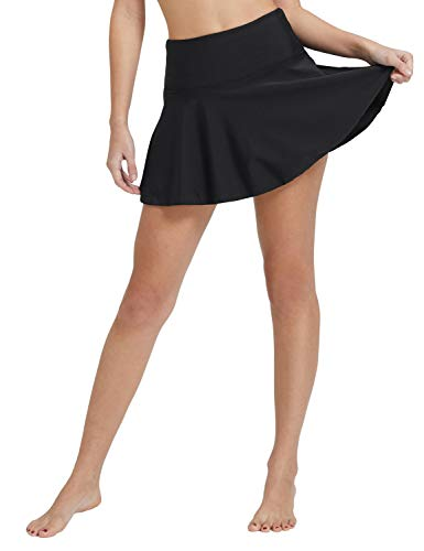 BALEAF Women's Swim Skirt Tummy Control 3.94' High Waisted Flounce Swimming Skort Bikini Bottom Tankini Swimsuit Black XL