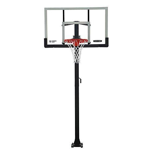 Lifetime Crank Adjust In Ground Basketball Tempered Glass Backboard, 54', Clear