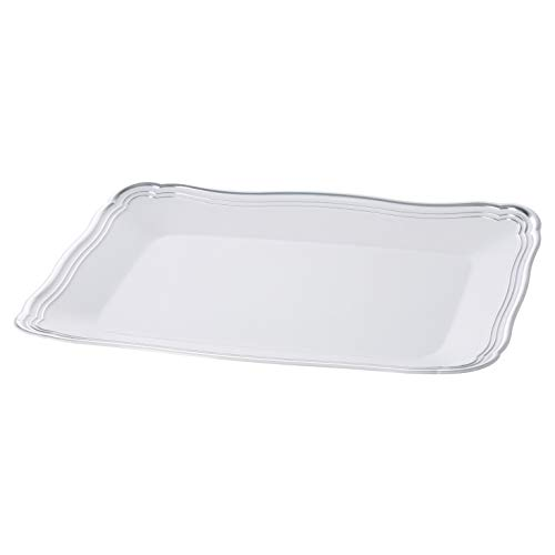 Plastic Serving Tray | White Rectangular Serving Trays With Silver Rim Border, Disposable Heavyweight Serving Party 9' x 13' Platters, 6 Pack - Posh Setting
