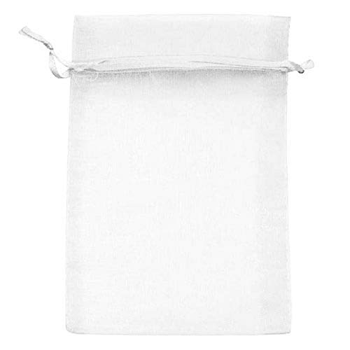Beadaholique BX1294 WH Drawstring Gift Bags, 4 by 6-Inch, White Organza