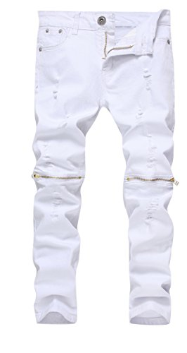 Boy's White Slim Fit Skinny Jeans Ripped Elastic Waist Pants with Zipper for Kids ,White,8 Slim