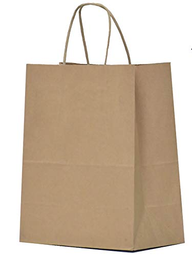 Kraft Paper Gift Bags with Handles - 8x4.25x10.5 25 Pcs Brown Shopping Bags, Party Bags, Goody Bags, Cub, Favor Bags, Business Bags, Kraft Bags, Retail Bags