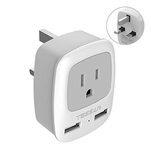 UK Ireland Hong Kong Power Adapter, TESSAN International Travel Plug with 2 USB, Type G Outlet Adaptor Charger for USA to British England Scotland Irish London