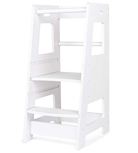 KidzWerks Kitchen Step Stool for Kids - Bright White Wooden Step Stool - Toddler Tower Kitchen Step Stool for Kitchen Counter Learning
