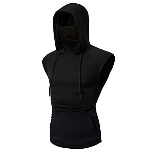 Sleeveless Hoodies for Men with Face Cover, Summer Casual Solid Hooded Sweatshirt Tank Tops Black