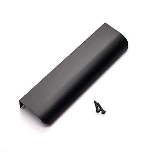 goldenwarm Tab Edge Pull Black Mount Finger Pull Hidden Door Handle for Kitchen Cabinets 128mm/5in Center to Center LS7027BK128, 10Pack
