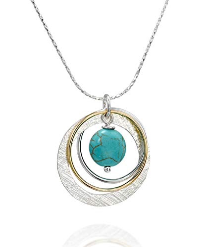 Stera Jewelry 925 Silver & 14k Gold Filled Multi Hoops Turquoise Pendant Necklace, 18 + 4 Inches