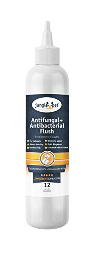 Jungle Pet Antifungal + Antibacterial Flush with Ketoconazole 0.2% & Chlorhexidine 0.2% - for Dogs & Cats - (Cucumber Melon Scent), Clear/White