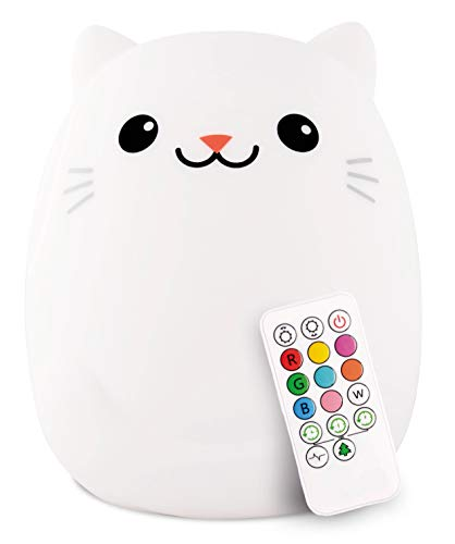 LED Nursery Cat Night Light for Kids LumiPets Cute Animal Silicone Baby Night Light with Touch Sensor - Portable and Rechargeable Infant or Toddler Color Changing Bright Nightlight & Baby Gifts